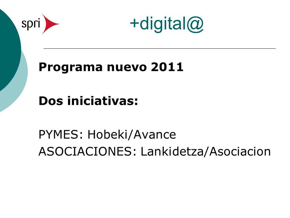 +digital@ Programa nuevo 2011 Dos iniciativas: PYMES: Hobeki/Avance ASOCIACIONES: Lankidetza/Asociacion
