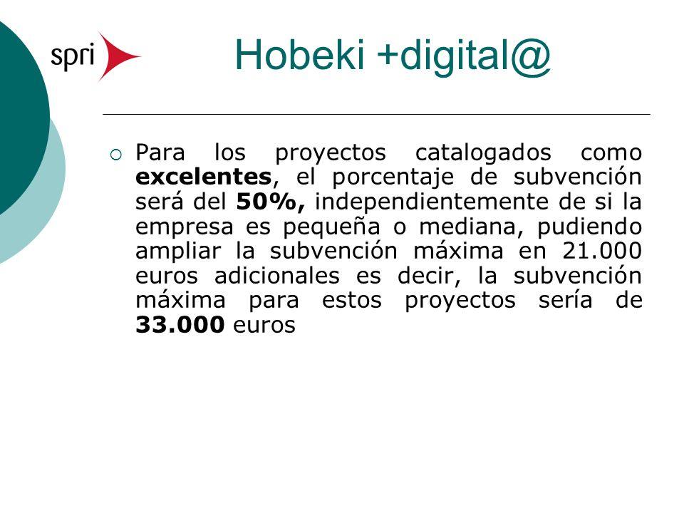 Hobeki +digital@ Para los proyectos catalogados como excelentes, el porcentaje de subvención será del 50%, independientemente de si la empresa es pequeña o mediana, pudiendo ampliar la subvención máxima en 21.000 euros adicionales es decir, la subvención máxima para estos proyectos sería de 33.000 euros