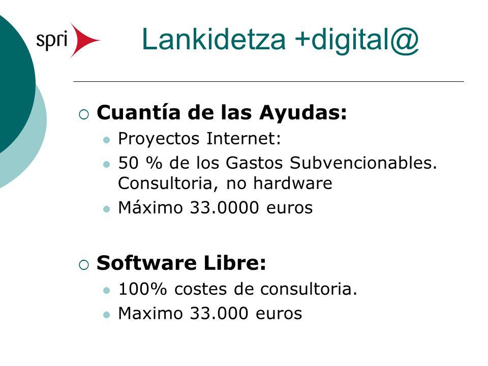 Lankidetza +digital@ Cuantía de las Ayudas: Proyectos Internet: 50 % de los Gastos Subvencionables. Consultoria, no hardware Máximo 33.0000 euros Soft