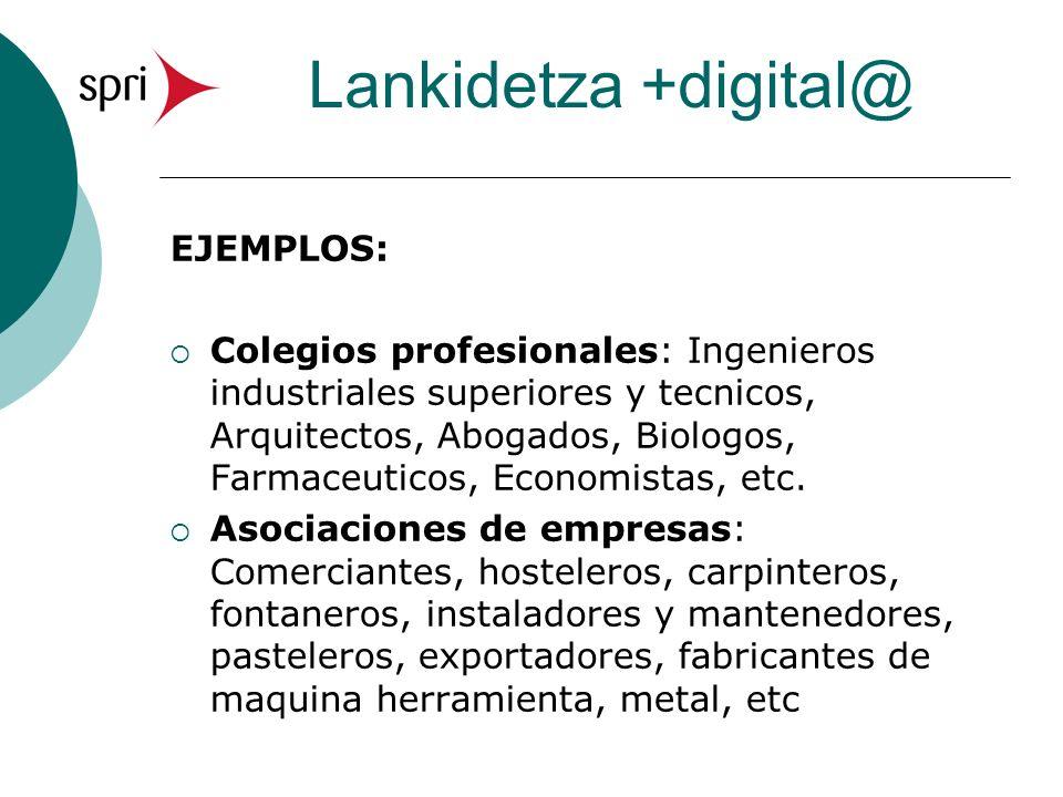 Lankidetza +digital@ EJEMPLOS: Colegios profesionales: Ingenieros industriales superiores y tecnicos, Arquitectos, Abogados, Biologos, Farmaceuticos, Economistas, etc.