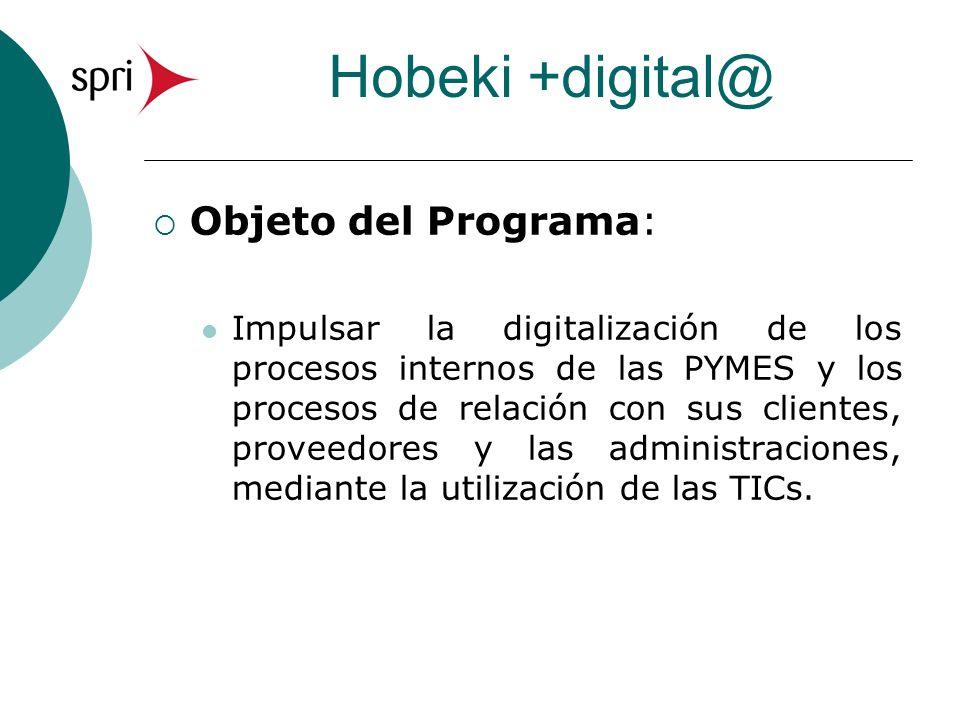 Hobeki +digital@ Objeto del Programa: Impulsar la digitalización de los procesos internos de las PYMES y los procesos de relación con sus clientes, proveedores y las administraciones, mediante la utilización de las TICs.