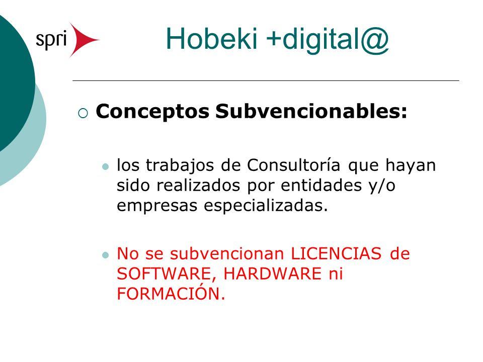 Hobeki +digital@ Conceptos Subvencionables: los trabajos de Consultoría que hayan sido realizados por entidades y/o empresas especializadas. No se sub