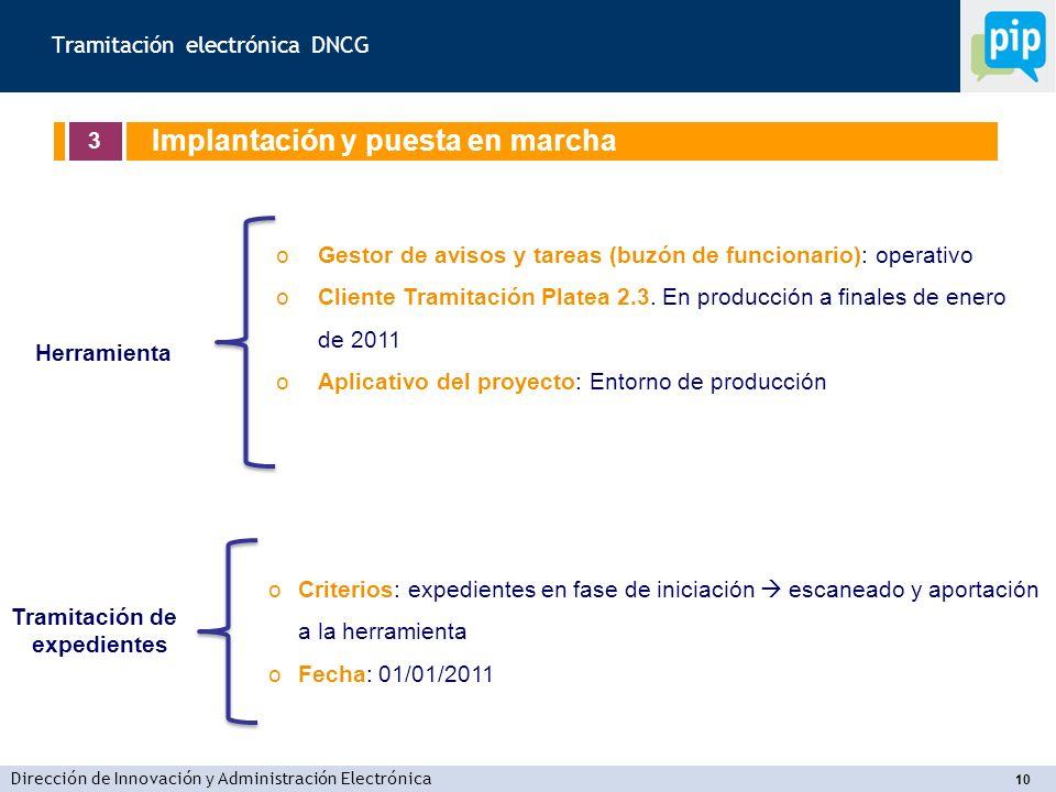 Dirección de Innovación y Administración Electrónica 10 oGestor de avisos y tareas (buzón de funcionario): operativo oCliente Tramitación Platea 2.3.