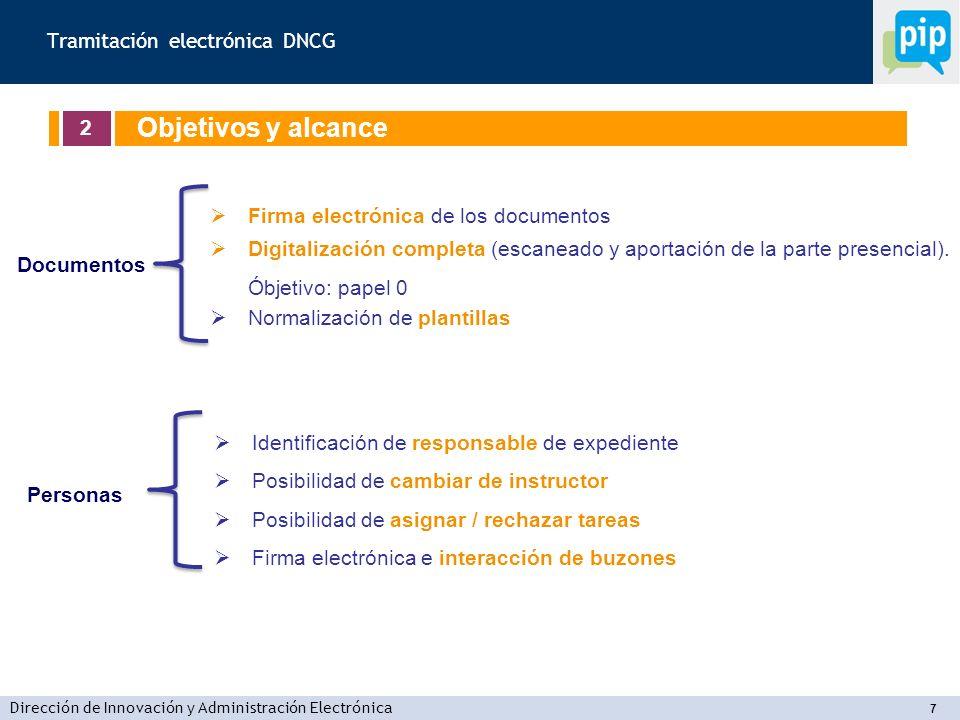 Dirección de Innovación y Administración Electrónica 7 Firma electrónica de los documentos Digitalización completa (escaneado y aportación de la parte presencial).
