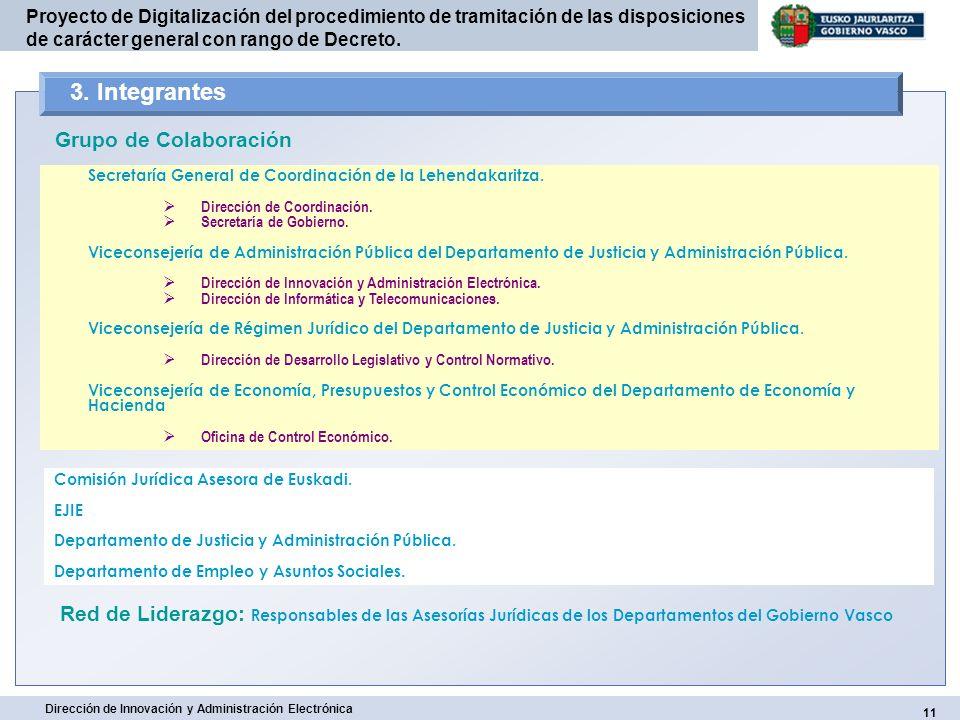 11 Dirección de Innovación y Administración Electrónica Proyecto de Digitalización del procedimiento de tramitación de las disposiciones de carácter g