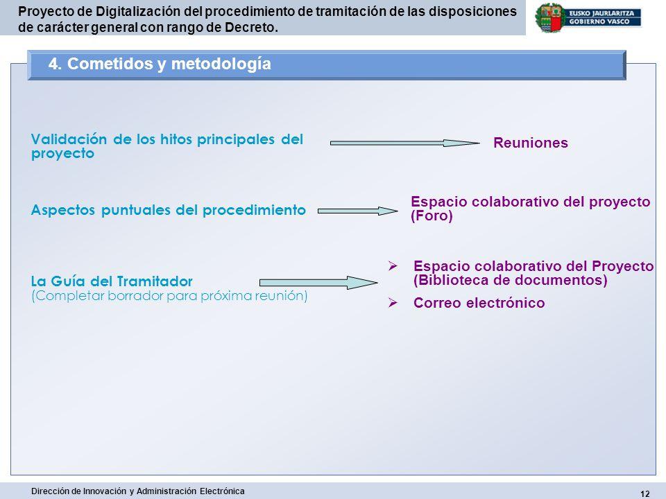 12 Dirección de Innovación y Administración Electrónica Proyecto de Digitalización del procedimiento de tramitación de las disposiciones de carácter g