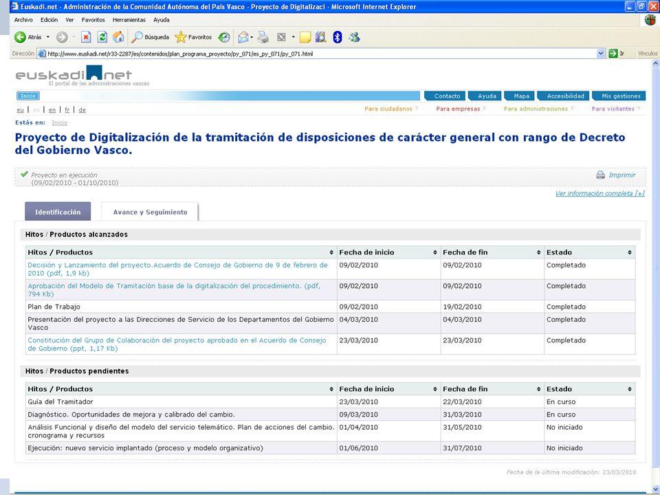 21 Dirección de Innovación y Administración Electrónica Proyecto de Digitalización del procedimiento de tramitación de las disposiciones de carácter g