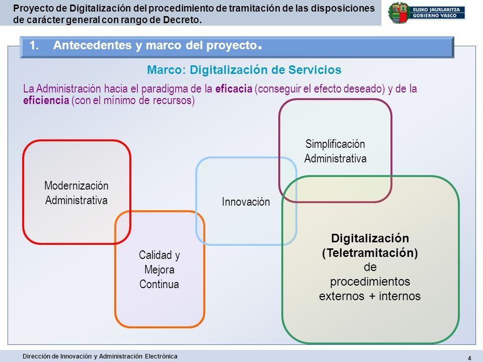 15 Dirección de Innovación y Administración Electrónica Proyecto de Digitalización del procedimiento de tramitación de las disposiciones de carácter general con rango de Decreto.