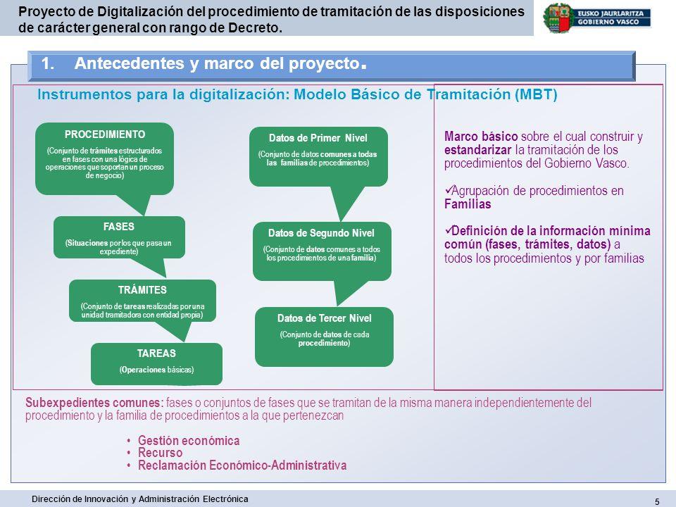 6 Dirección de Innovación y Administración Electrónica Proyecto de Digitalización del procedimiento de tramitación de las disposiciones de carácter general con rango de Decreto.