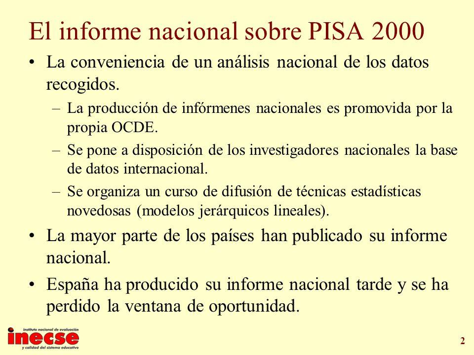2 El informe nacional sobre PISA 2000 La conveniencia de un análisis nacional de los datos recogidos. –La producción de infórmenes nacionales es promo