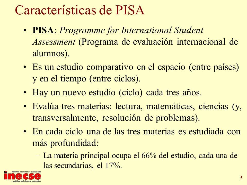 3 Características de PISA PISA: Programme for International Student Assessment (Programa de evaluación internacional de alumnos). Es un estudio compar