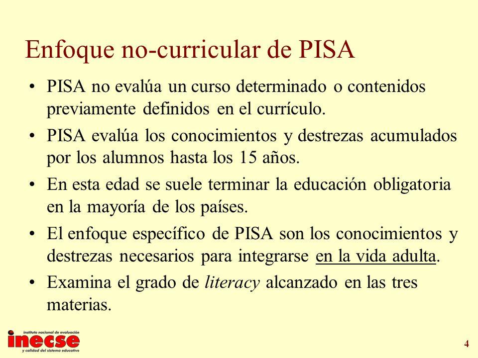 4 Enfoque no-curricular de PISA PISA no evalúa un curso determinado o contenidos previamente definidos en el currículo. PISA evalúa los conocimientos