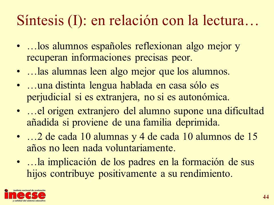 44 Síntesis (I): en relación con la lectura… …los alumnos españoles reflexionan algo mejor y recuperan informaciones precisas peor. …las alumnas leen
