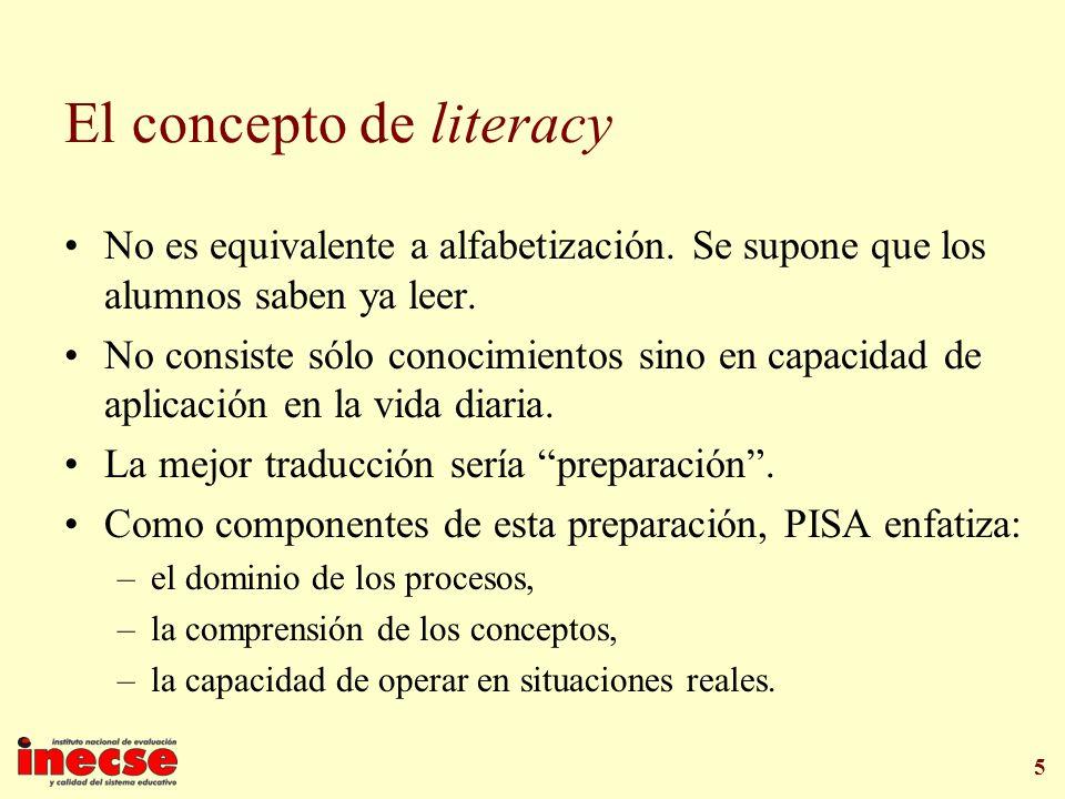 5 El concepto de literacy No es equivalente a alfabetización. Se supone que los alumnos saben ya leer. No consiste sólo conocimientos sino en capacida