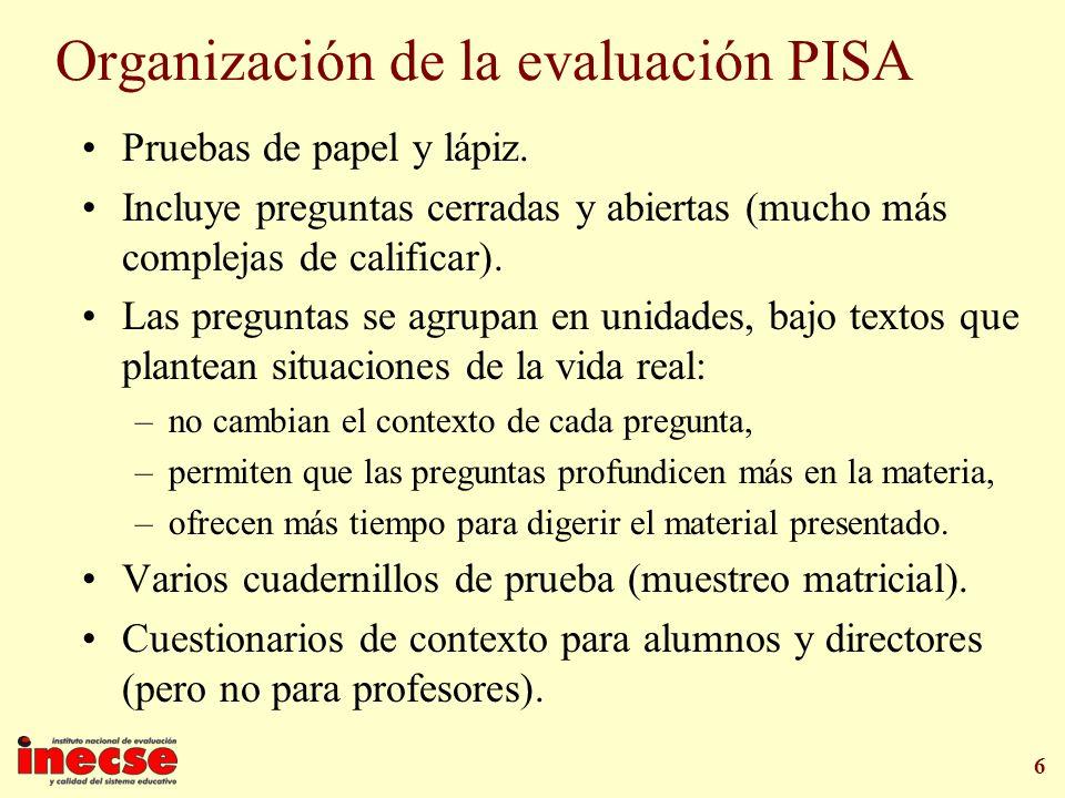 6 Organización de la evaluación PISA Pruebas de papel y lápiz. Incluye preguntas cerradas y abiertas (mucho más complejas de calificar). Las preguntas
