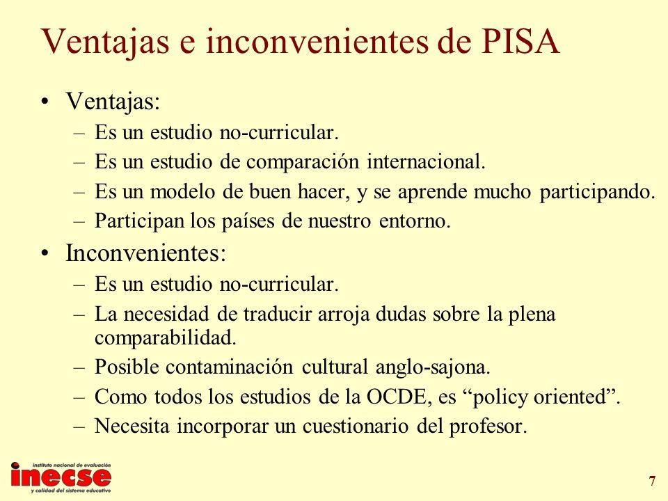 7 Ventajas e inconvenientes de PISA Ventajas: –Es un estudio no-curricular. –Es un estudio de comparación internacional. –Es un modelo de buen hacer,