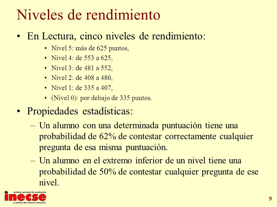 9 Niveles de rendimiento En Lectura, cinco niveles de rendimiento: Nivel 5: más de 625 puntos, Nivel 4: de 553 a 625, Nivel 3: de 481 a 552, Nivel 2: