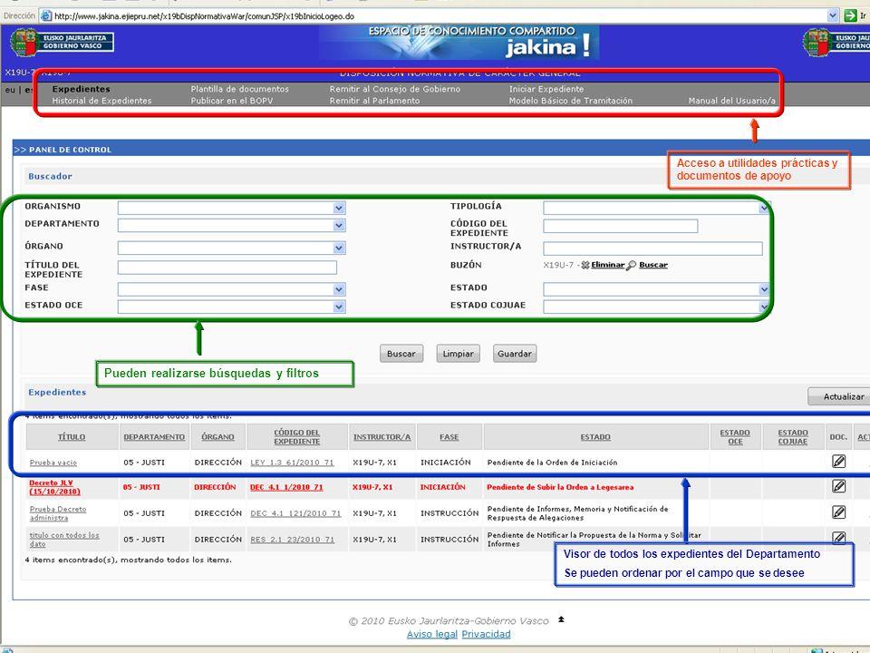 Tramitación electrónica de las DNCG Departamento de Justicia y Administración PúblicaVitoria-Gasteiz, 14 de febrero de 2011 4 2 Herramienta para la tramitación telemática Pueden realizarse búsquedas y filtros Visor de todos los expedientes del Departamento Se pueden ordenar por el campo que se desee Acceso a utilidades prácticas y documentos de apoyo