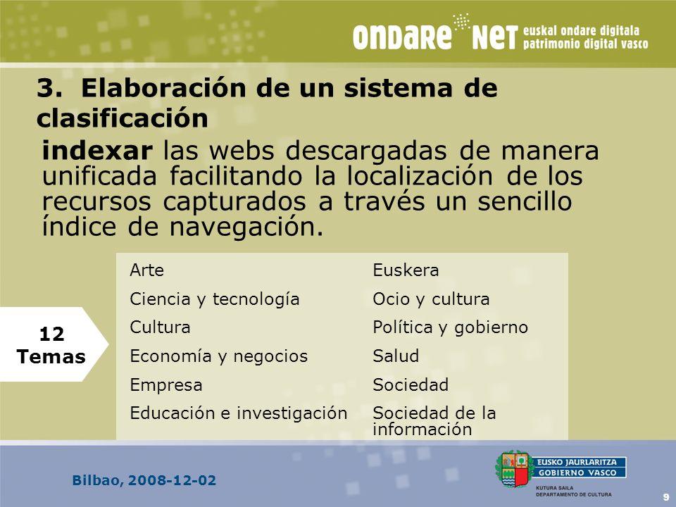 Bilbao, 2008-12-02 9 3. Elaboración de un sistema de clasificación indexar las webs descargadas de manera unificada facilitando la localización de los