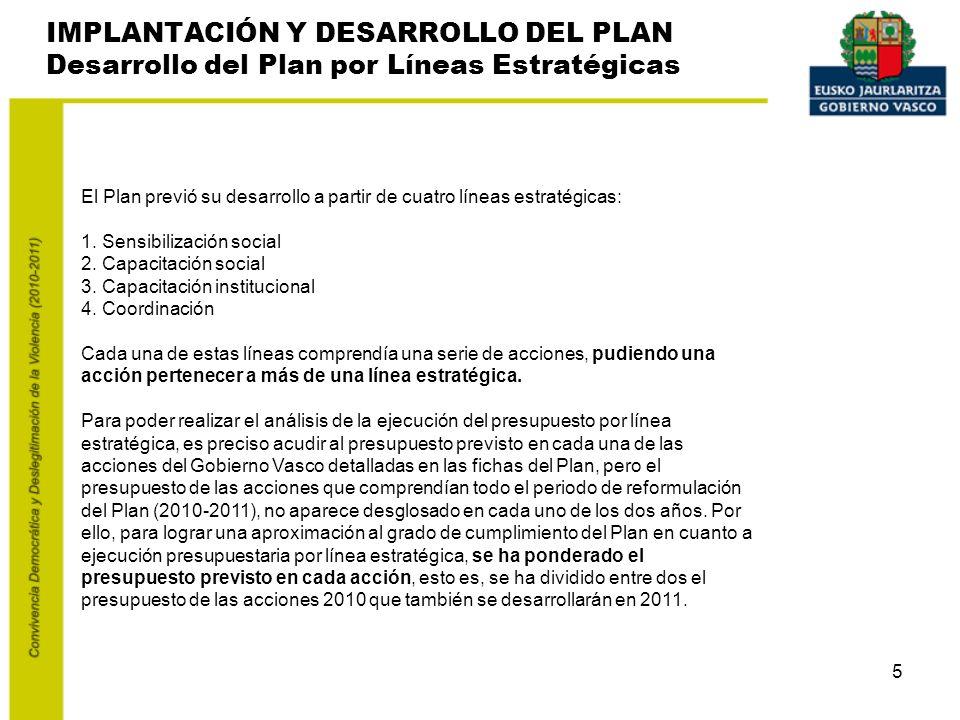 5 El Plan previó su desarrollo a partir de cuatro líneas estratégicas: 1.
