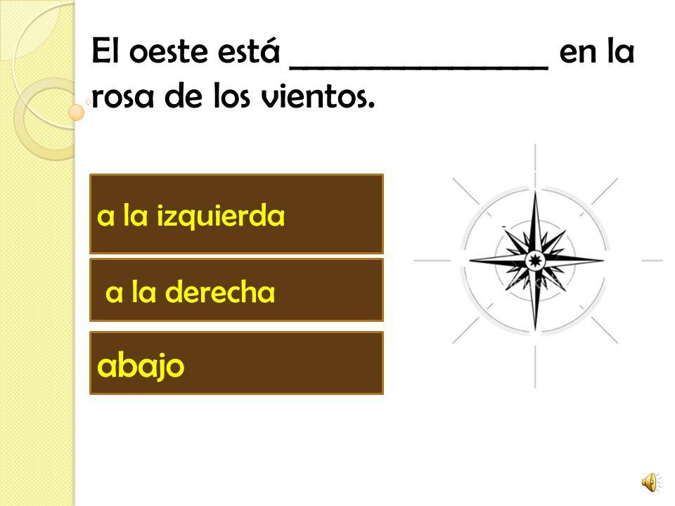 El oeste está ________________ en la rosa de los vientos. abajo a la derecha a la izquierda