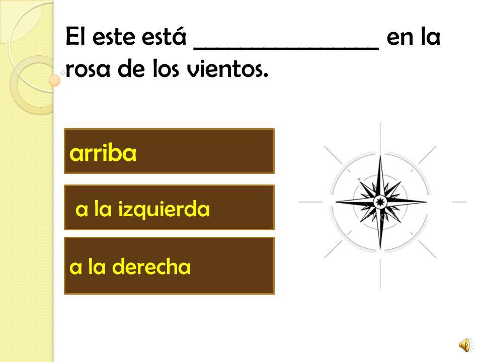 El este está ________________ en la rosa de los vientos. arriba a la izquierda a la derecha