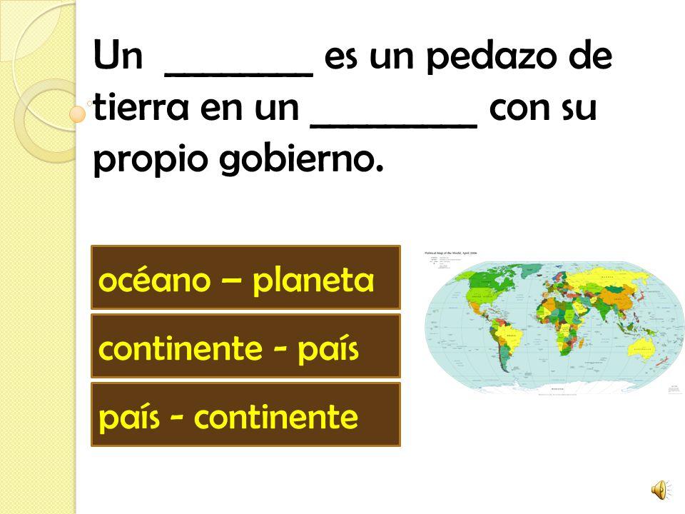 Norte América, Sur América, Europa, Africa, Asia, Antártica y Australia son los siete _______. océanos países continentes