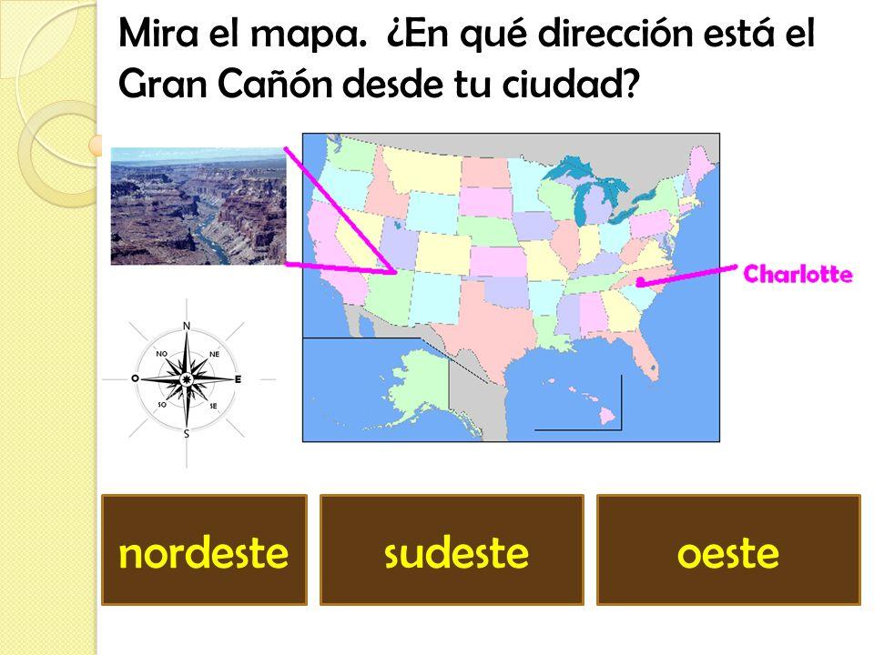 Mira el mapa. ¿En qué dirección está la estatua de la libertad desde tu ciudad? noroeste sur nordeste