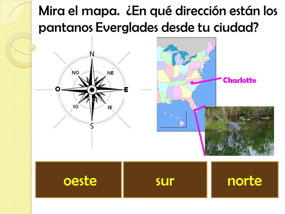 Mira el mapa. ¿En qué dirección está el Gran Cañón desde tu ciudad? este sudoestenoroeste