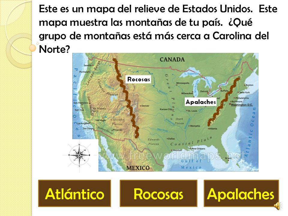 Este es un mapa del relieve de Estados Unidos.Este mapa muestra las montañas de tu país.