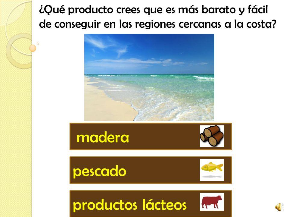 ¿Qué producto crees que es más barato y fácil de conseguir en las regiones cercanas a la costa.