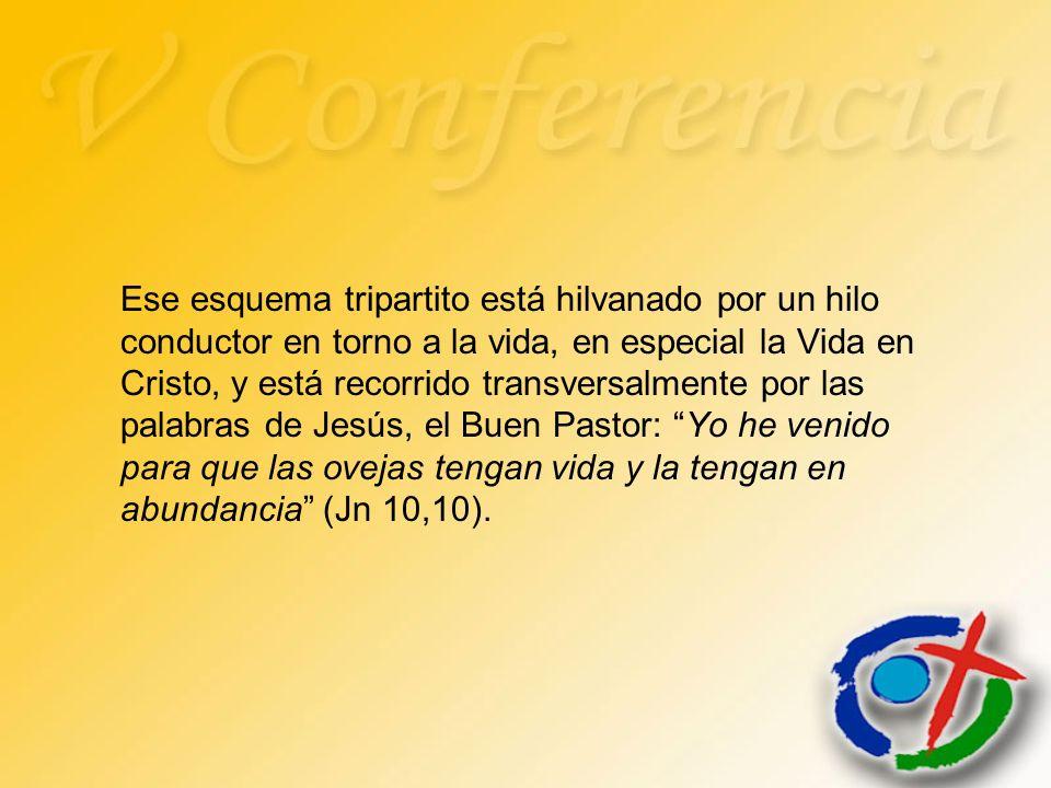 Ese esquema tripartito está hilvanado por un hilo conductor en torno a la vida, en especial la Vida en Cristo, y está recorrido transversalmente por l