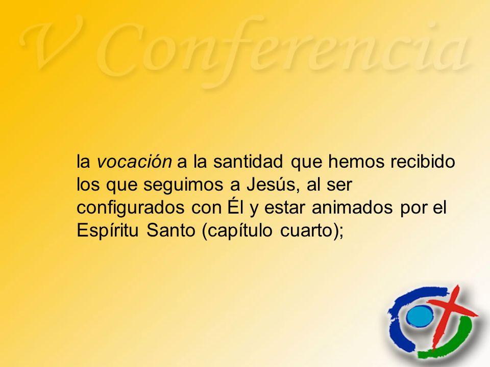 la vocación a la santidad que hemos recibido los que seguimos a Jesús, al ser configurados con Él y estar animados por el Espíritu Santo (capítulo cua