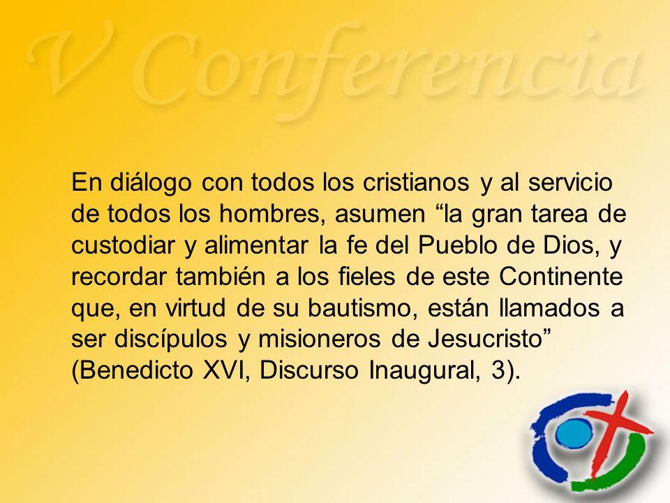 En diálogo con todos los cristianos y al servicio de todos los hombres, asumen la gran tarea de custodiar y alimentar la fe del Pueblo de Dios, y reco