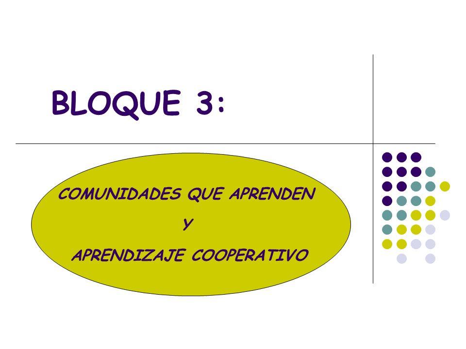 COMUNIDADES QUE APRENDEN Y APRENDIZAJE COOPERATIVO BLOQUE 3:
