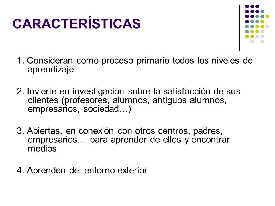 CARACTERÍSTICAS 1. Consideran como proceso primario todos los niveles de aprendizaje 2. Invierte en investigación sobre la satisfacción de sus cliente