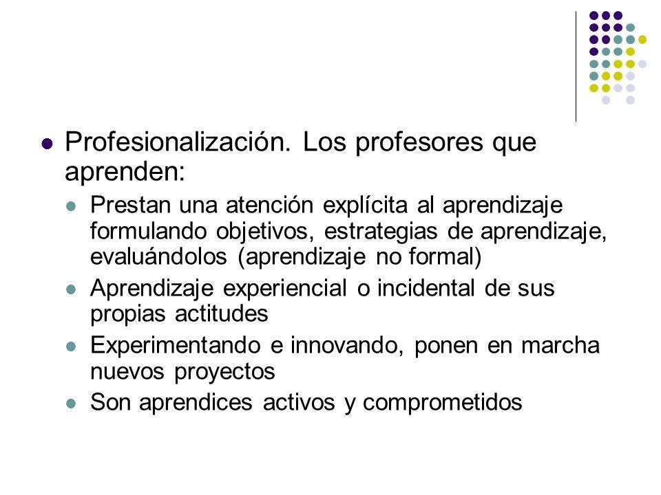 Profesionalización. Los profesores que aprenden: Prestan una atención explícita al aprendizaje formulando objetivos, estrategias de aprendizaje, evalu