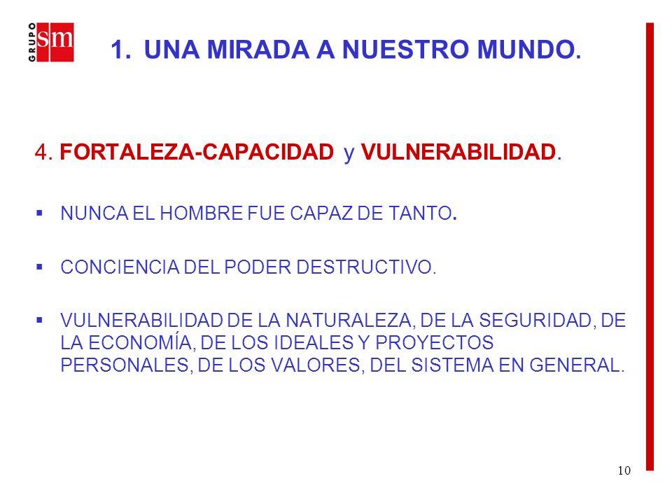 10 4. FORTALEZA-CAPACIDAD y VULNERABILIDAD. NUNCA EL HOMBRE FUE CAPAZ DE TANTO.