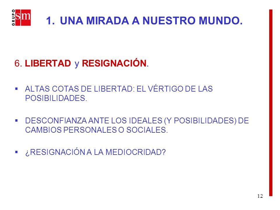 12 6. LIBERTAD y RESIGNACIÓN. ALTAS COTAS DE LIBERTAD: EL VÉRTIGO DE LAS POSIBILIDADES.