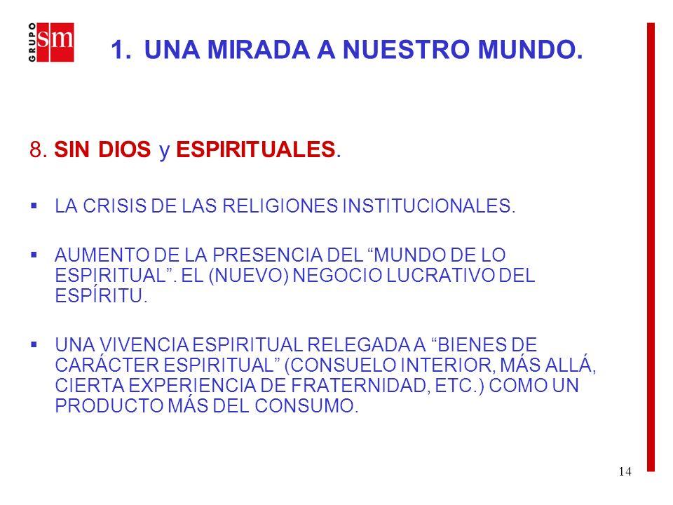 14 8. SIN DIOS y ESPIRITUALES. LA CRISIS DE LAS RELIGIONES INSTITUCIONALES.