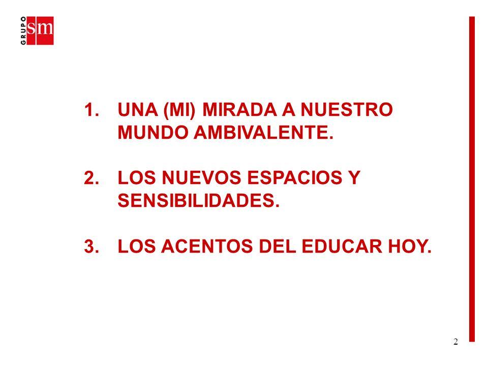 23 3.LOS ACENTOS DEL EDUCAR HOY El ámbito más específico de la escuela: APORTAR EL SENTIDO.