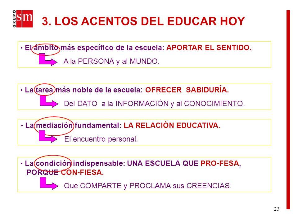 23 3. LOS ACENTOS DEL EDUCAR HOY El ámbito más específico de la escuela: APORTAR EL SENTIDO.