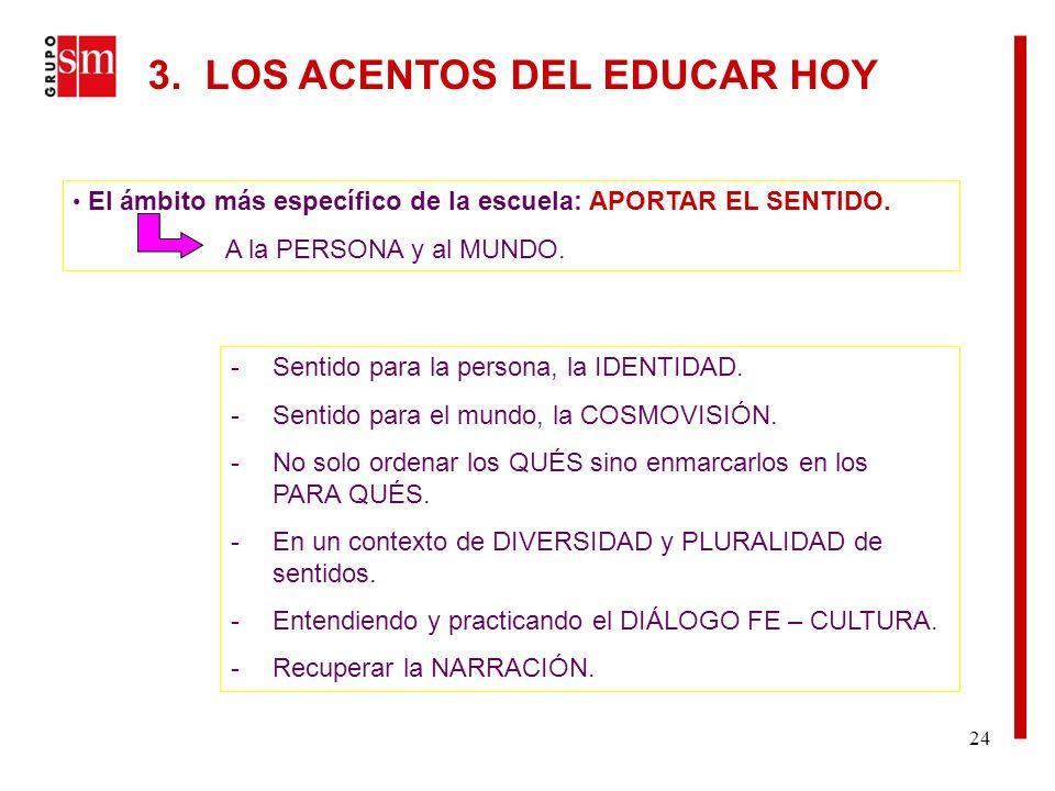 24 El ámbito más específico de la escuela: APORTAR EL SENTIDO.