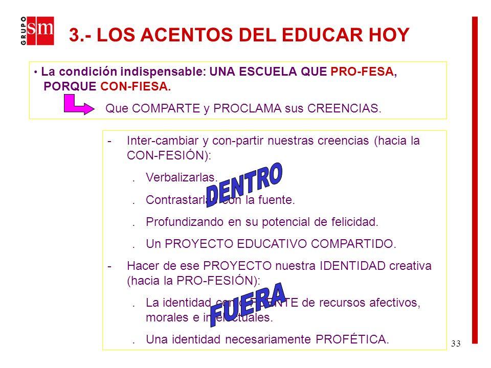 33 La condición indispensable: UNA ESCUELA QUE PRO-FESA, PORQUE CON-FIESA.