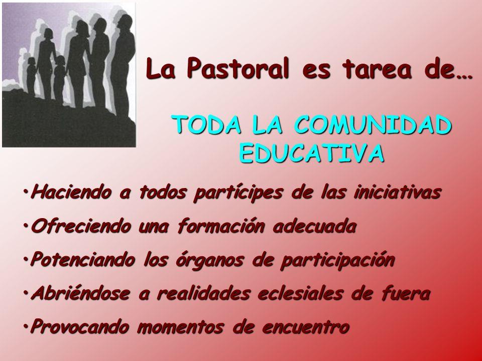 La Pastoral es tarea de… TODA LA COMUNIDAD EDUCATIVA Haciendo a todos partícipes de las iniciativasHaciendo a todos partícipes de las iniciativas Ofre