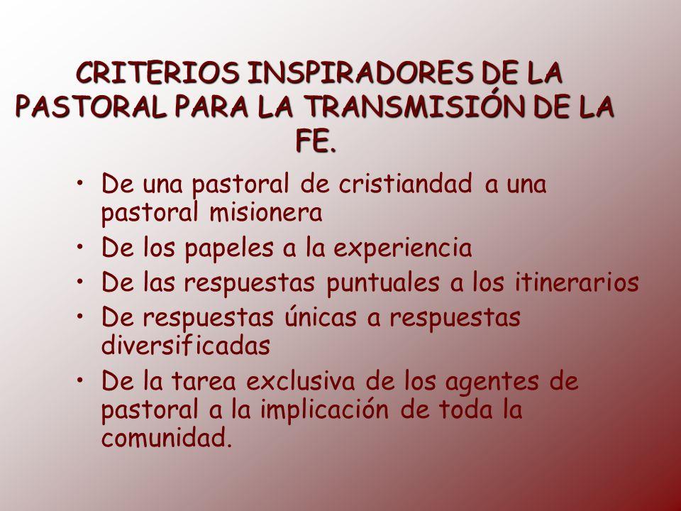 CRITERIOS INSPIRADORES DE LA PASTORAL PARA LA TRANSMISIÓN DE LA FE. CRITERIOS INSPIRADORES DE LA PASTORAL PARA LA TRANSMISIÓN DE LA FE. De una pastora
