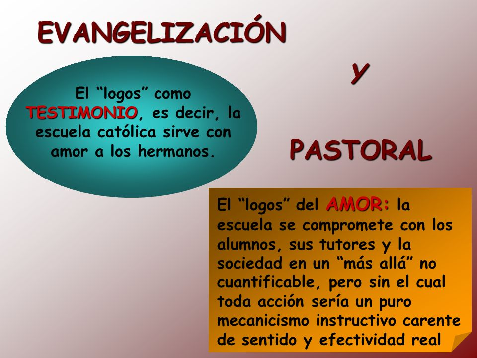 EVANGELIZACIÓN TESTIMONIO El logos como TESTIMONIO, es decir, la escuela católica sirve con amor a los hermanos. AMOR: El logos del AMOR: la escuela s