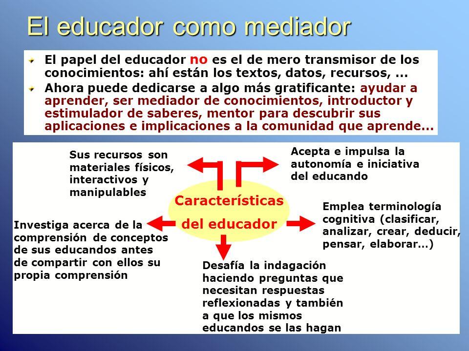 El educador como mediador El papel del educador no es el de mero transmisor de los conocimientos: ahí están los textos, datos, recursos,... Ahora pued