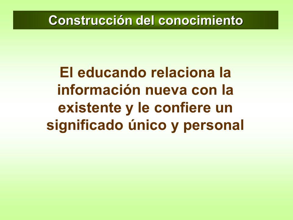 Construcción del conocimiento El educando relaciona la información nueva con la existente y le confiere un significado único y personal