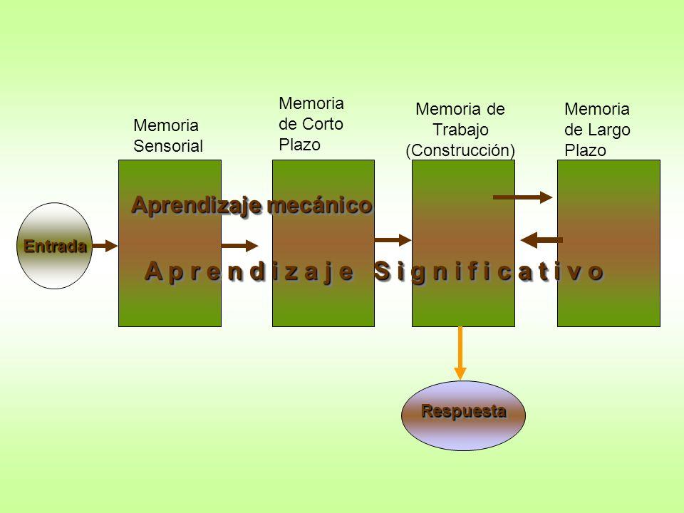Memoria Sensorial Memoria de Corto Plazo Memoria de Largo Plazo Aprendizaje mecánico A p r e n d i z a j e S i g n i f i c a t i v o Entrada Respuesta